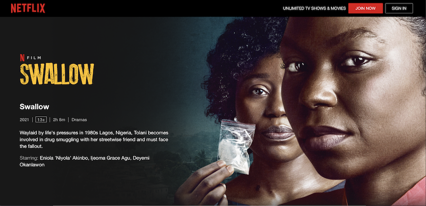 Kunle Afolayan's Swallow is a hard one to swallow. It's 4/10.